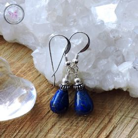 Lapis Lazuli & Silver Drop Earrings